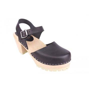 Lotta From Stockholm Classic High Heel Covered Mary Jane Style Clogs From Lotta in black leather with a tractor sole