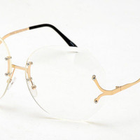 Oversized Rimless Large Vintage Retro Square Clear Lens Women Sun glasses
