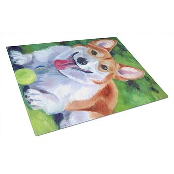 Corgi with green ball Glass Cutting Board Large 7296LCB