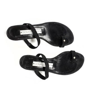 6.5 | DONALD PLINER handmade black suede leather toe loop sandals  / womens 6.5