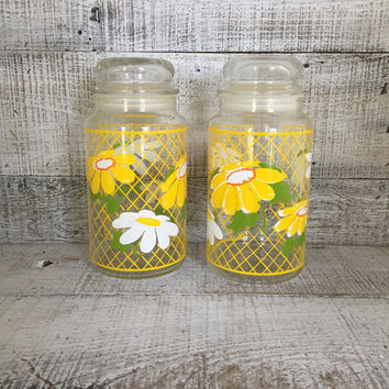 Canisters Set of 2 Vintage Glass Canisters Yellow Daisy Canisters Hildi Glass Canisters Floral Glass Kitchen Canisters Retro Kitchen