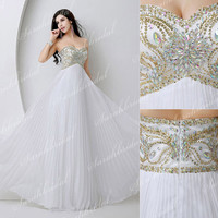 Maxi White  Beaded Cocktail Prom Party Ball Gowns Beach Dress
