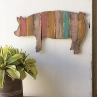 Wooden Pig Wall Art- Multi Striped