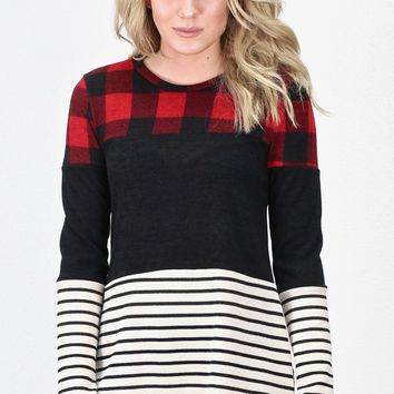 Print Block: Buffalo Plaid + Stripes Tunic {Red/Black}