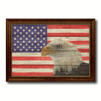 USA Eagle American Flag Texture Canvas Print with Brown Picture Frame Gifts Home Decor Wall Art Collectible Decoration Artwork
