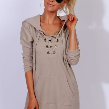 If I Could Hoodie Dress Taupe