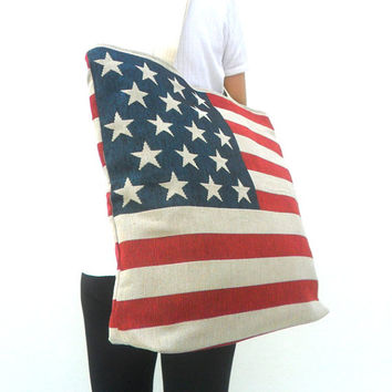 "Tote bag Lady Women American flag Bag Ethnic bag  Bohemian Bag Multicolor  Bag Shoulder Bag Hippie Boho Purse Messenger Gift Bag 18""x16"""