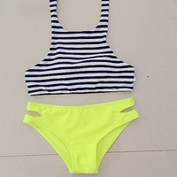 Stripe High Neck Vest Halter Bikini Swimsuits