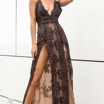 Love Is Blind Black Sequin Floral Pattern Sleeveless Spaghetti Strap V Neck Double Slit Maxi Dress