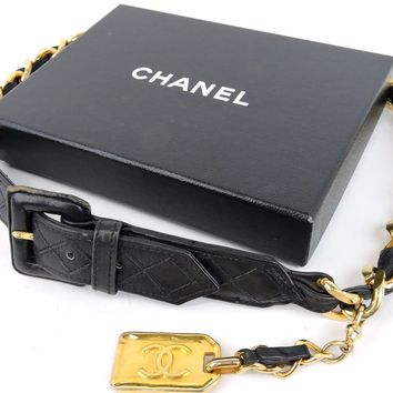 AUTHENTIC CHANEL CC GOLDTONE CHAIN & BLACK LEATHER 75 / 30 FASHION WAIST BELT