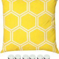 "Manual Woodworkers SLHCYW Yellow Honeycomb 18"" x 18"" Climaweave Outdoor / Indoor Pillow with 6-Pack of Tea Candles"