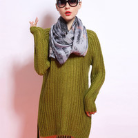 Long Sleeve Knit Sweater Dress with Linen Scarf