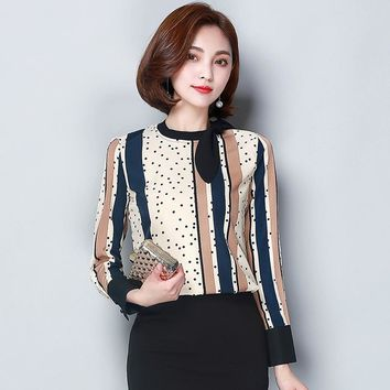 Elegant Ladies Long Sleeve Shirt Women Tops Autumn Fashion O-neck Bow Tie Striped Polka Dot Chiffon Blouse Office Casual Shirts