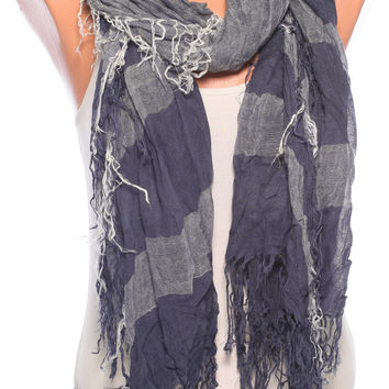 cotton Scarf Shawl scarf summer scarves womens scarves spring scarf navy blue scarf navy scarf womens fashion scarves womens accessories