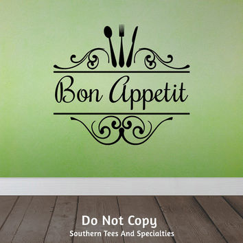 Bon Appetit, Spoon Fork Knife, Swirls, Family Dinner Dinner Table, Dining, Kitchen, Cooking, Word Art Vinyl Wall Decal