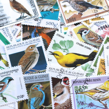 Vintage Bird Stamps Botanical Postage Stamps All Different Altered Art, Paper Lot Scrapbooking Vintage Paper Supplies