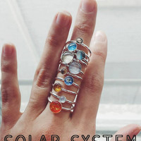 Solar System Sterling Silver Stacking Ring Set - Planets, Sun, Pluto - Unique Space Galaxy Jewelry, Cosmos Jewellery, Astronomy Science Gift