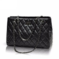 Quilted Plaid Chain Strap Shoulder Handbags