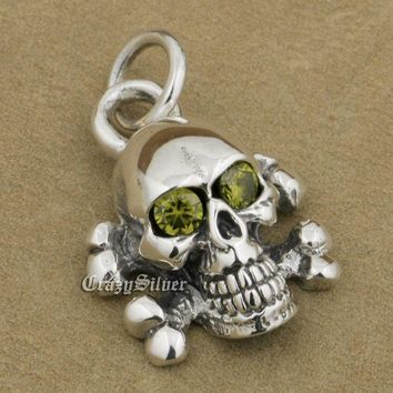 925 Sterling Silver Cross Bone CZ Eyes Skull Mens Biker Rocker Punk Pendant