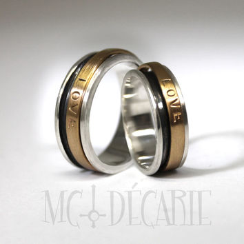 His and Hers spinner ring set, small wedding rings with 10k gold spinner, 2 engraving included per ring, personalized coordinates rings