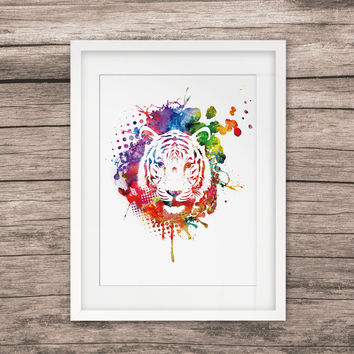 Tiger Head Art Watercolor Paint Home Decor Wall Hanging Art Picture
