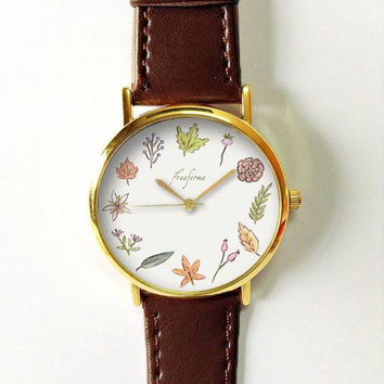 Autumn Leaves Watch, Maple, Acorn, Fall Jewelry, Women Watches, Ladies Watch, Wrist Watch, Leather Watch Bands, Gift, Autumn Leaf Colors