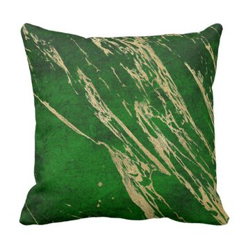 Crushed Velvet Look with Gold Throw Pillow