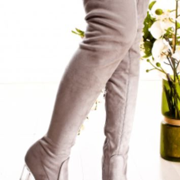 BLACK SUEDE ALMOND TOE SIDE ZIPPER THIGH HIGH HEEL BOOTS