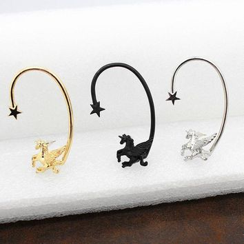 Unicorn Ear Cuff Earring Flying with Star 1pc in Gold, Silver or Black Color Metal for Left Ear Only
