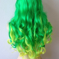 Green / Yellow Ombre wig. Lady Gaga hair inspired Long curly Irish color hair gradually change to lime green and yellow color hair wig.