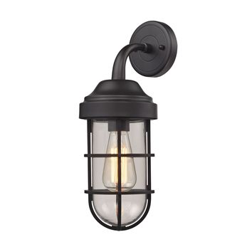 66365/1 Seaport 1 Light Wall Sconce In Oil Rubbed Bronze And Clear Glass - Free Shipping!