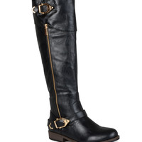 Journee Collection Black Barb Wide-Calf Riding Boot | zulily