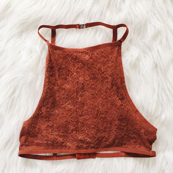 Aria Lace Cage Back Halter (Rust)