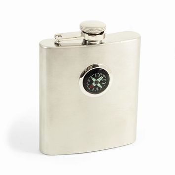 Stainless Steel Compass 8 oz. Satin Flask - Engravable Personalized Gift Item