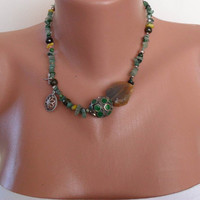 Necklace with Jade Jasper and Alpaca Silver by SwedishShop