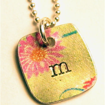 Hand Stamped Initial charm necklace  - Silver Pewter - Ball Chain Included - Any Initial