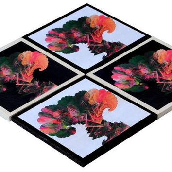 Fractal Tree drink coaster set Modern Art Coasters, Wooden House Warming Gift, Unique Home Decor Passover Gift (CR037)