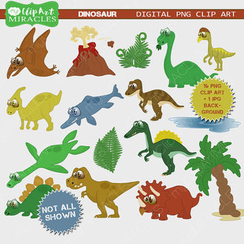 Dinosaur clipart, Dino clip art grapchics, Cute dino digital illustration, Dinosaurs scrapbook elements / Instant download