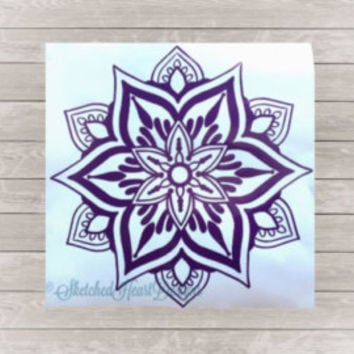 Round Mandala, Mandala Sticker, Bohemian Ideas, Decals, Window Decal, Spirtual  Wall Decal, Large Mandala  Decal, Gift, Yoga Wall Decor #058