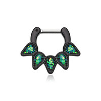 "Black Septum Clicker 16g 1/4"" 6mm Opal Black Quinary Spear Septum Ring"