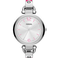 Fossil Watch, Women's Georgia Pink Leather and Stainless Steel Bangle Bracelet 32mm ES3258 - All Watches - Jewelry & Watches - Macy's