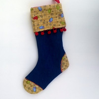 """Upcycled Christmas Stocking, Denim with Flannel Cuff and Red Pom Pom Trim 14"""""""
