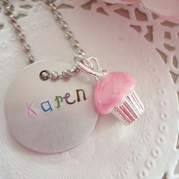 Your Choice Of Name Hand Stamped Keychain With Cupcake Charm Pink