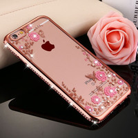 "Secret Garden Luxury Plating TPU Silicone Case For iPhone 7 7 Plus 6 6S Plus 5.5"" 4.7"" inches Back Cover Soft Case for iPhone 7"