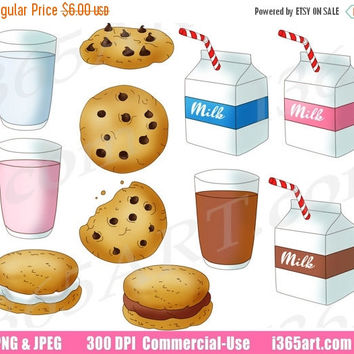 50% OFF SALE Milk and Cookies Clipart, Milk and Cookies Clip Art, Chocolate Chip, Milk Cartons, Glass Of Milk, Commercial, Instant Download