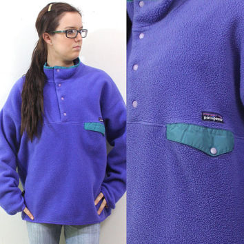 Vintage Retro Purple Patagonia Snap T Fleece Sweatshirt