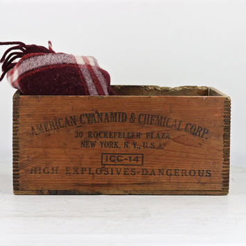 Dynamite Wood Crate, American Cyanamid & Chemical Corp Wood Crate, 30 Rockefeller Plaza NY, NY Wood Crate, Explosives Wood Crate, Vintage