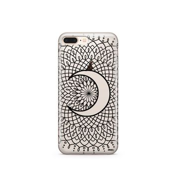 CLEARANCE iPhone 7 Clear Case Cover - Black La Luna Mandala