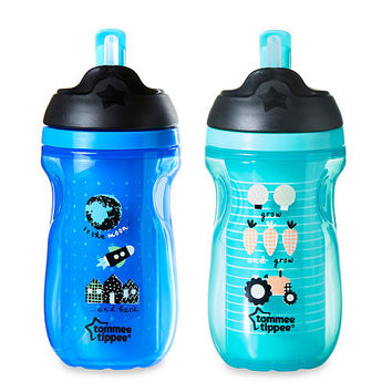 Tommee Tippee 2 Pack 9 Ounce Insulated Straw Tumbler Cup - Blue / Teal