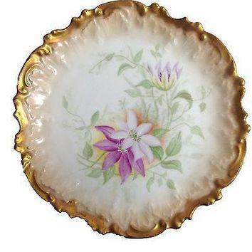 Antique Limoges Hand Painted French Porcelain Plate Clematis Coiffe